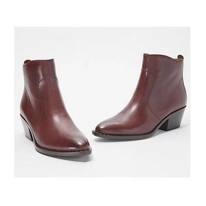 Patricia Nash Leather Ankle Boots Bootie Dark Red